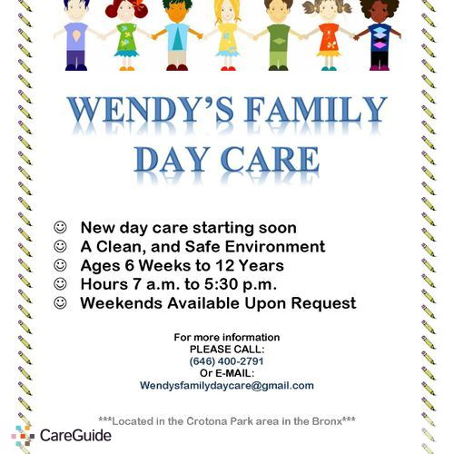 Family Day Care Now Enrolling Daycare Provider Bronx