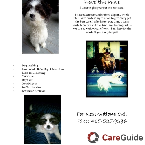 Pet Care Provider Ricci G's Profile Picture