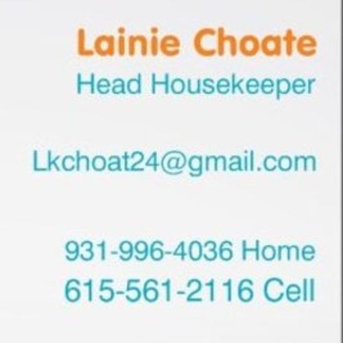 Housekeeper Provider Lainie Choate's Profile Picture
