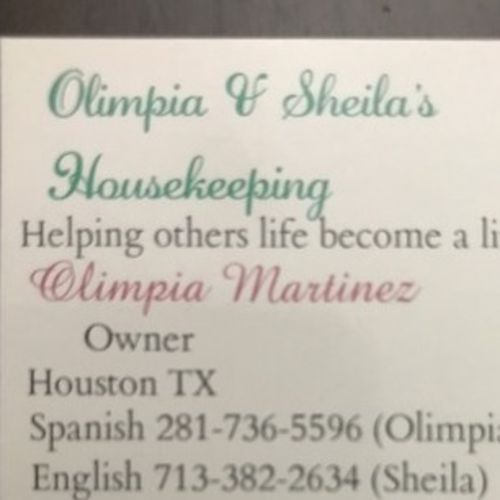 Housekeeper Provider Sheila O's Profile Picture