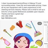 Hello! My name is Bo Hodges and I am a 38 year old female who loves to clean! I am currently available MTTF 6-3pm
