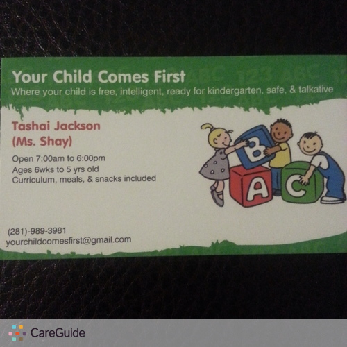 Child Care Provider Tashai Jackson's Profile Picture
