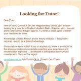 Looking for Tutor for Grade-V