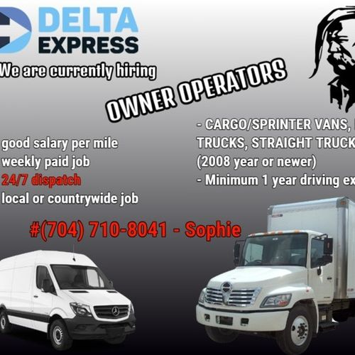 We are currently hiring drivers / owner operators - Truck