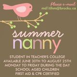 Summer Nanny in Binbrook