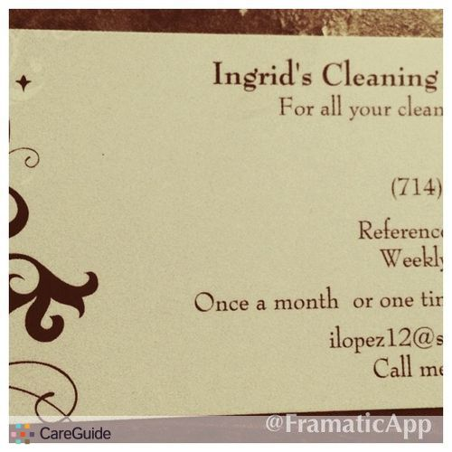 Housekeeper Provider Ingrid L's Profile Picture