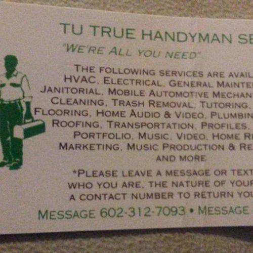 TuTrue Handyman Services 24-hour Valley area service