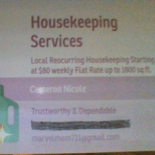 Housekeeper Provider Cameron Nicole's Profile Picture