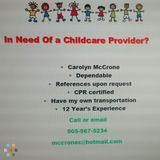 Excellent Child Care Provider Available