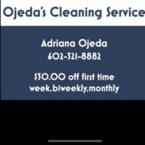 Ojeda cleaning service 30.00 off first cleaning