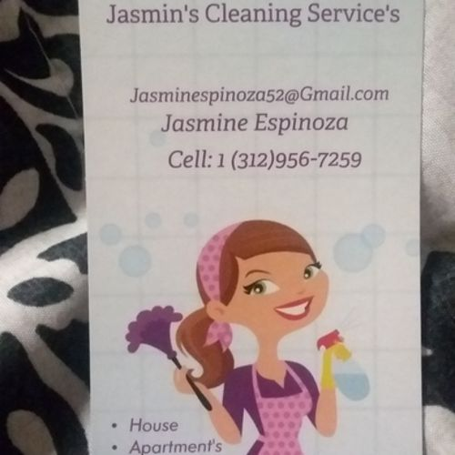 Hey my name is Jasmin Espinoza I been cleaning for more then ...