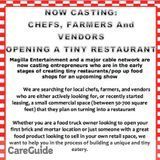 Casting Local Chefs Opening Small Restaurants in northern CA