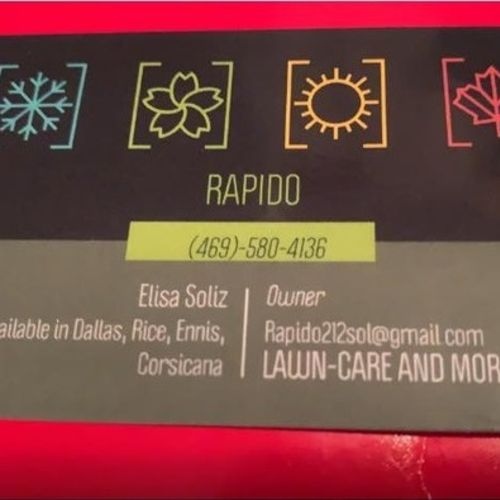 My name is Elisa Soliz I am the owner of Rapido Lawn-care I offer the best care for your lawn all year round.