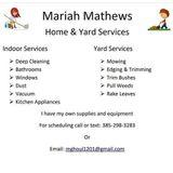 Mariah Mathews: Dedicated Home and Yard Caretaker in Syracuse, Utah