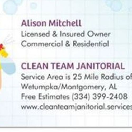 Housekeeper Provider Alison Mitchell dba Clean Team Janitorial Service Gallery Image 2