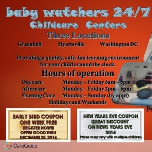 Child Care Provider Babywatchers 24/7 7 Days A Week's Profile Picture