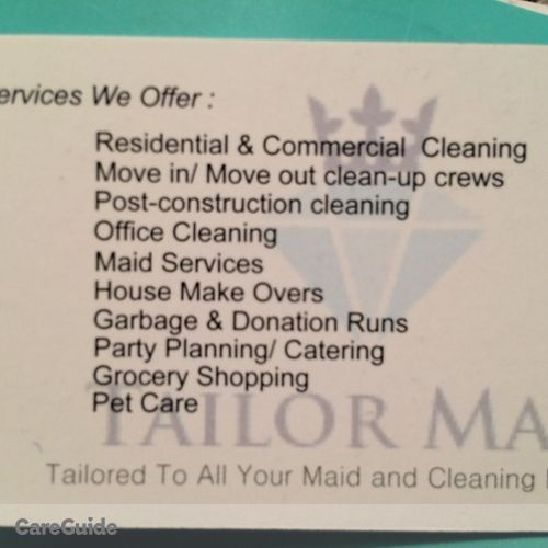 Housekeeper Provider Tailor Maid Cleaning's Profile Picture