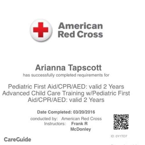 Child Care Provider Arianna Tapscott's Profile Picture