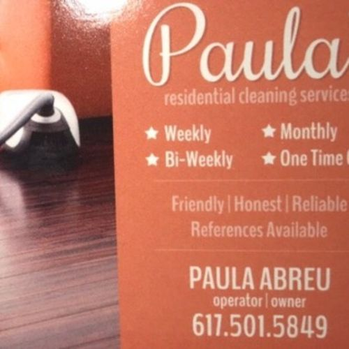 Housekeeper Provider Paula Cleaning's Profile Picture