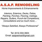A.S.A.P. Remodeling - Home Improvement, Repair & Enhancement Specialist