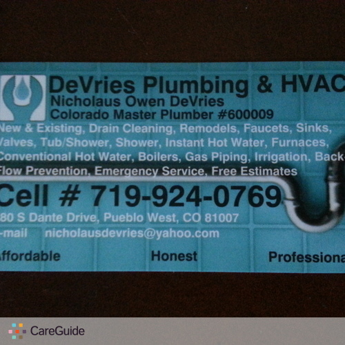 Plumber Provider Nick DeVries's Profile Picture