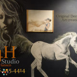 Horse lovers! Equine themed and other decorative wall and fine art as well as wallpaper install and painting service