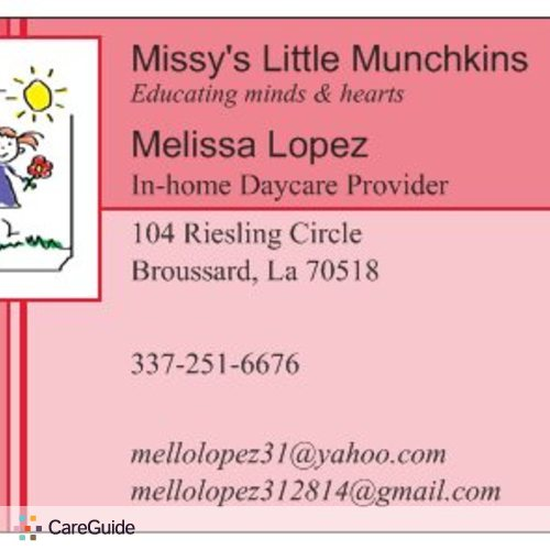 Child Care Provider Melissa L's Profile Picture