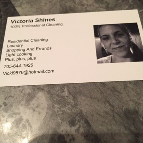 Victoria Shines Cleaning company in Gravenhurst
